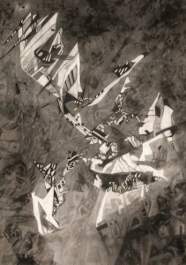 Réti Ágnes-A kezdet-100x70cm, szén-pasztell-szénceruza-pamut jersey (1)