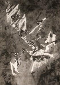 Réti Ágnes-A kezdet-100x70cm-szén-pasztell-szénceruza-pamut jersey