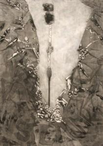 Réti Ágnes-Az erő-100x70cm-szén-pasztell-szénceruza-pamut jersey